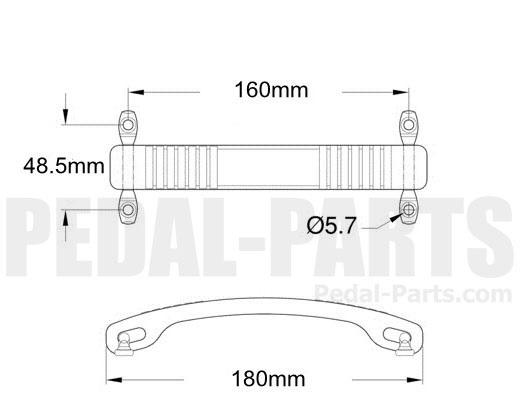 black fender dogbone style amp handle